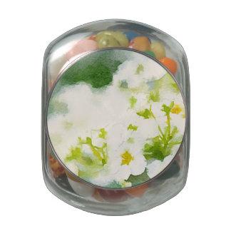 Acuarela de las flores blancas jarras de cristal