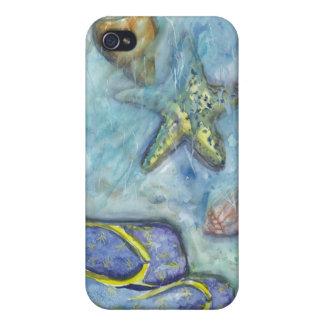 Acuarela de las sandalias de Sanibel iPhone 4/4S Carcasas