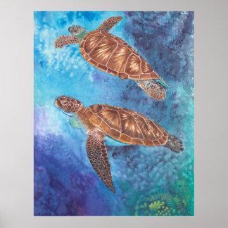 Acuarela de las tortugas de mar póster