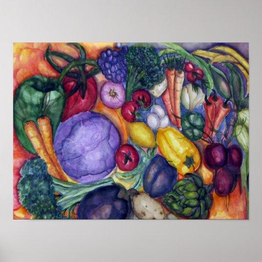 Acuarela de las verduras póster
