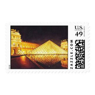 """Acuarela de """"Les Lumieres du Louvre"""" París Sello"""