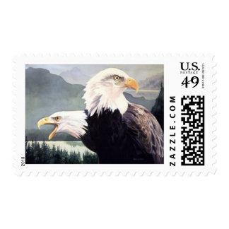 Acuarela de los pares de Eagle calvo de la Sellos Postales