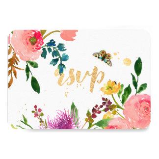 """Acuarela de PixDezines RSVP floral/ranúnculo Invitación 3.5"""" X 5"""""""