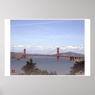 Acuarela de Puente-San Francisco Digital del Golde Póster