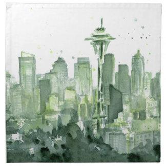 Acuarela de Seattle Servilleta Imprimida