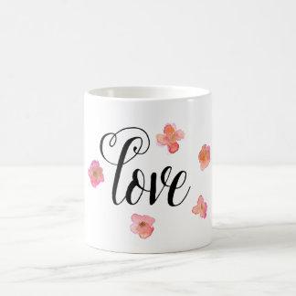 Acuarela del amor floral taza básica blanca