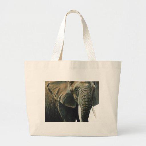 """Acuarela del animal de la fauna del """"elefante"""" bolsa tela grande"""