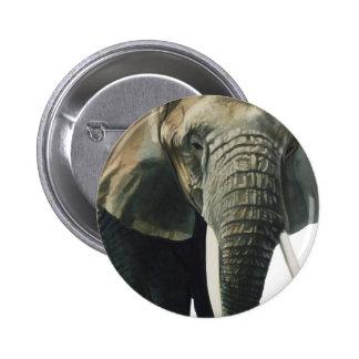 """Acuarela del animal de la fauna del """"elefante"""" pin redondo 5 cm"""