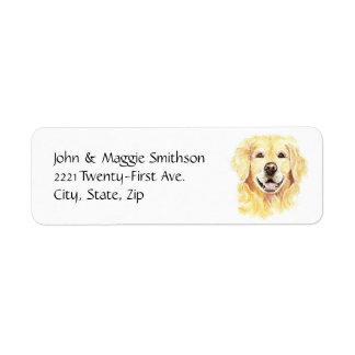 Acuarela del animal de mascota del perro del etiqueta de remite