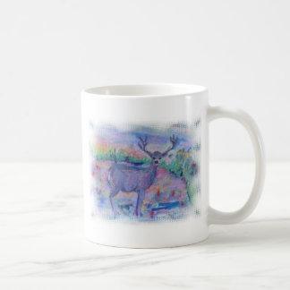 Acuarela del animal salvaje de los ciervos impresa tazas de café