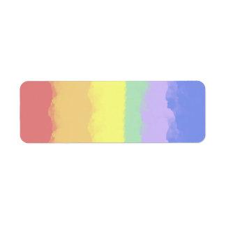 Acuarela del arco iris etiqueta de remite