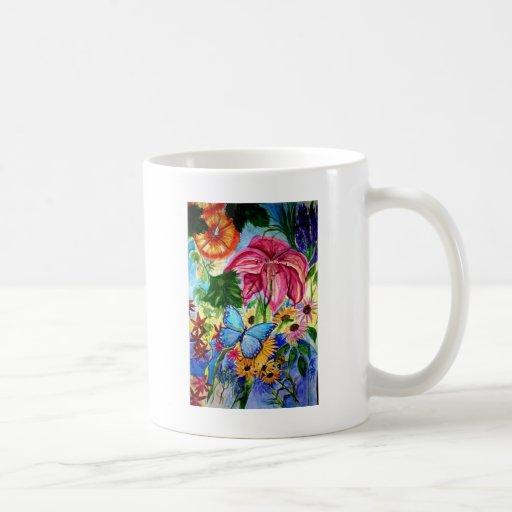 Acuarela del arte del jardín de la mariposa de taza