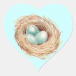 Acuarela del azul de la jerarquía del huevo del pe colcomanias de corazon