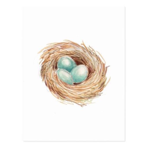 Acuarela del azul de la jerarquía del huevo del tarjeta postal