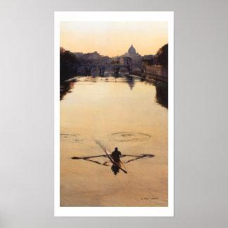 "Acuarela del barco del Kayaker ""del Oarsman"" Poster"