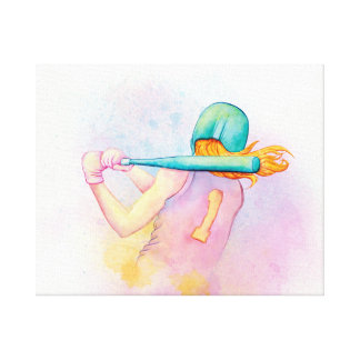 Acuarela del bateador del softball lienzo envuelto para galerías