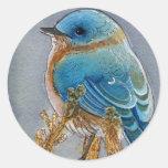 Acuarela del Bluebird Etiquetas Redondas