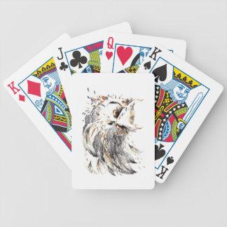 Acuarela del búho cartas de juego