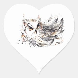 Acuarela del búho pegatina en forma de corazón