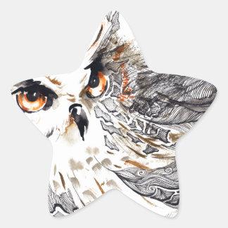 Acuarela del búho pegatina en forma de estrella