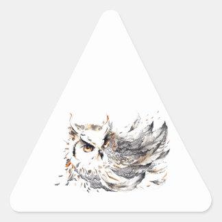 Acuarela del búho pegatina triangular