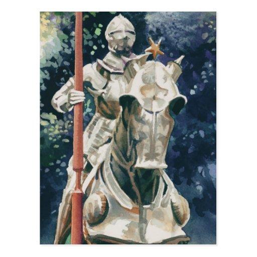 """Acuarela del caballero de la """"armadura brillante"""" postal"""