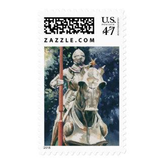 """Acuarela del caballero de la """"armadura brillante"""" timbre postal"""