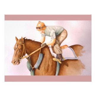 "Acuarela del caballo y del jinete de raza folleto 8.5"" x 11"""