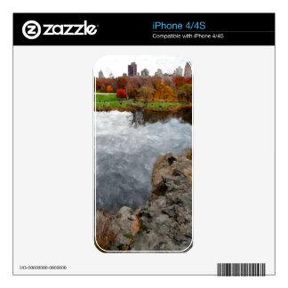 Acuarela del Central Park Calcomanías Para iPhone 4