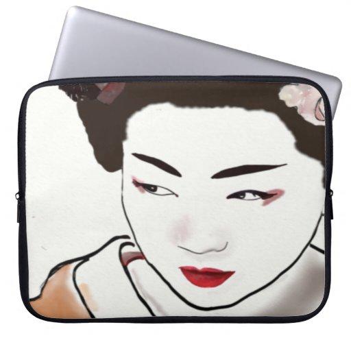 Acuarela del chica de geisha funda computadora