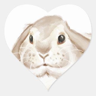 Acuarela del conejito de Brown Pegatina En Forma De Corazón