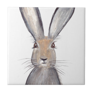 Acuarela del conejo de las liebres azulejo cuadrado pequeño