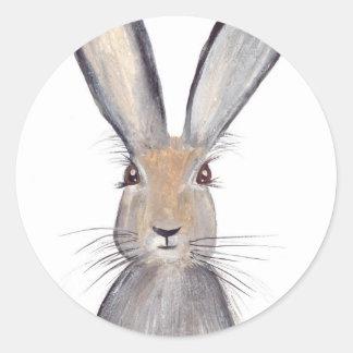 Acuarela del conejo de las liebres pegatina redonda