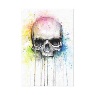 Acuarela del cráneo que pinta la impresión lienzo envuelto para galerías