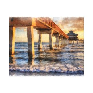 Acuarela del embarcadero de la playa de fuerte impresión en lienzo