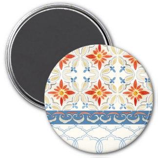 Acuarela del estampado de flores de la teja de imán redondo 7 cm