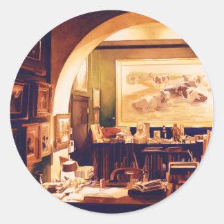 Acuarela del estudio de los artistas de la pegatina redonda
