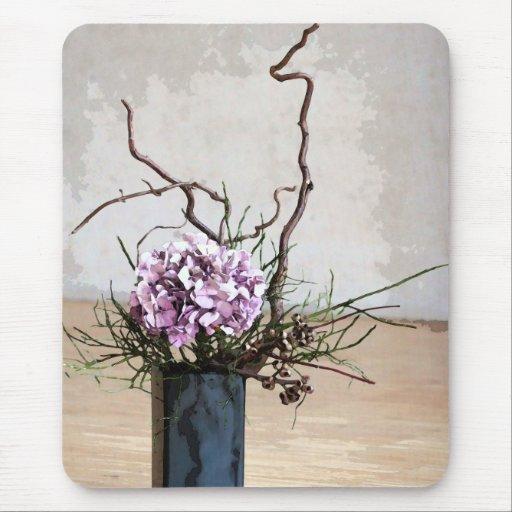 Acuarela del florero del Hydrangea y de madera Alfombrillas De Ratón