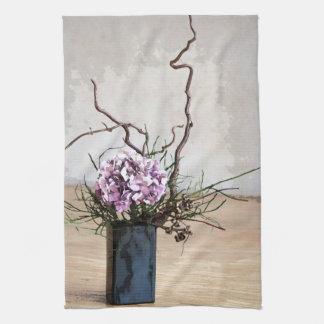 Acuarela del florero del Hydrangea y de madera Toalla