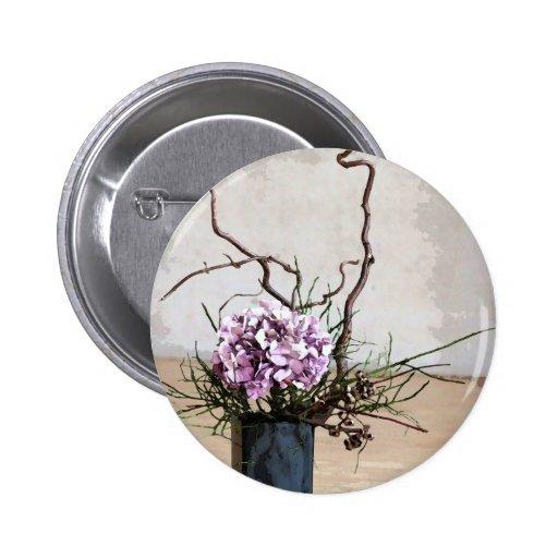 Acuarela del florero del Hydrangea y de madera Pin Redondo De 2 Pulgadas