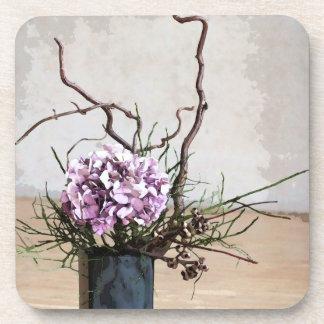 Acuarela del florero del Hydrangea y de madera Posavasos De Bebidas