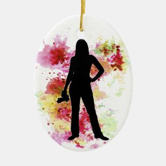 Acuarela del fotógrafo adorno navideño ovalado de cerámica