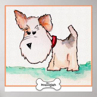 Acuarela del fox terrier con nombre póster