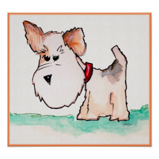 Acuarela del fox terrier póster