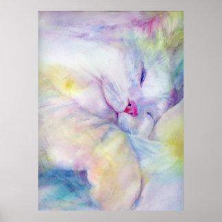 acuarela del gato blanco que duerme en una hoja bl poster