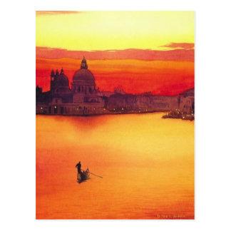 """Acuarela """"del gondolero"""" en la puesta del sol postal"""