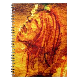 Acuarela del grito de la tristeza spiral notebook