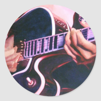 """Acuarela del guitarrista del """"virtuoso"""" pegatina redonda"""
