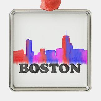 Acuarela del horizonte de Boston Adorno Navideño Cuadrado De Metal