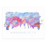 Acuarela del horizonte de Kansas City Tarjetas Postales